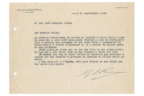 Carta de Gómez Román a Mosquera